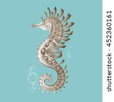 stylized seahorse on a blue... | Shutterstock .eps vector #452360161