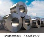 3d rendering roll of steel sheet   Shutterstock . vector #452361979