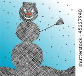 striped snow man, abstract art illustration