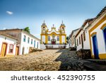 colorful colonial houses and... | Shutterstock . vector #452390755