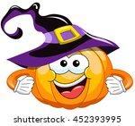 cartoon halloween pumpkin... | Shutterstock .eps vector #452393995