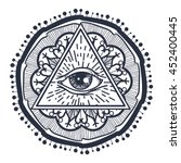 vintage all seeing eye in... | Shutterstock .eps vector #452400445