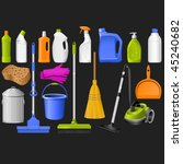 domestic tools for cleaning on... | Shutterstock .eps vector #45240682