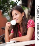 cafe. woman drinking coffee at... | Shutterstock . vector #45240970