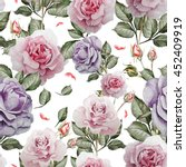 pattern with watercolor... | Shutterstock . vector #452409919