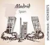 madrid hand drawn street. spain.... | Shutterstock .eps vector #452435071