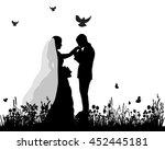 vector wedding  silhouette... | Shutterstock .eps vector #452445181