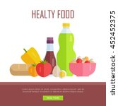 healthy food concept web banner....   Shutterstock .eps vector #452452375