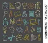 vector hand drawn cute school...   Shutterstock .eps vector #452452927