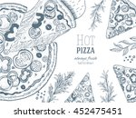 pizza design template. vector... | Shutterstock .eps vector #452475451
