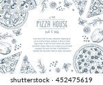 vintage pizza frame vector... | Shutterstock .eps vector #452475619