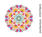 floral pattern in a circle... | Shutterstock .eps vector #452478631