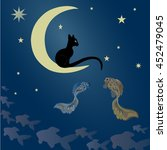 A Black Cat Sits On The Moon...