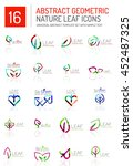 geometric leaf icon set. thin... | Shutterstock . vector #452487325