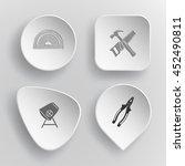4 images  protractor  hand saw... | Shutterstock .eps vector #452490811
