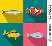 fish banners set in flat style... | Shutterstock . vector #452492221