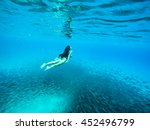 snorkelling with balls of fish... | Shutterstock . vector #452496799