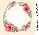 wreath frame of red flowers and ... | Shutterstock . vector #452503687