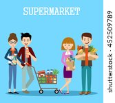 people in a supermarket with... | Shutterstock .eps vector #452509789