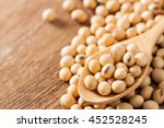 close up of raw soy beans in a... | Shutterstock . vector #452528245
