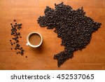a cup of coffee  map of brazil... | Shutterstock . vector #452537065