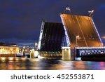 palace bridge and neva river at ... | Shutterstock . vector #452553871