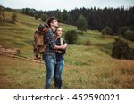 a couple of tourists in time of ... | Shutterstock . vector #452590021