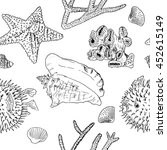 hand drawn sea set collection.... | Shutterstock .eps vector #452615149