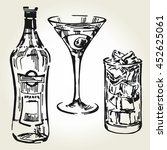 hand drawn glass with ice ...   Shutterstock .eps vector #452625061
