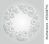 3d round floral frame with...   Shutterstock .eps vector #452638741