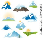 9 stylized landscape icons over ... | Shutterstock . vector #452651335