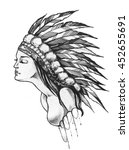indian native girl with feather ... | Shutterstock . vector #452655691