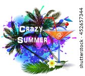 summer background with palm... | Shutterstock .eps vector #452657344