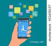 smart phone sport app with... | Shutterstock . vector #452658157