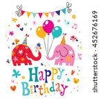 happy birthday card with cute...   Shutterstock .eps vector #452676169