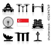 singapore travel landmarks icon ... | Shutterstock .eps vector #452694769