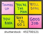 Small photo of way to go, good job, well done, you're the man, thumbs up, you rock, a set of isolated sticky notes with positive affirmation words