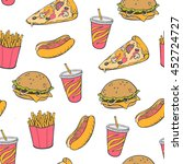 seamless background. fast food   Shutterstock .eps vector #452724727