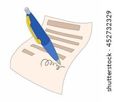 the document is signed icon in...   Shutterstock . vector #452732329