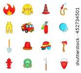 fireman icons set in cartoon... | Shutterstock . vector #452734501