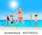 jumping wild summer exercise  | Shutterstock . vector #452735221