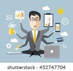 businessman with multitasking  | Shutterstock . vector #452747704