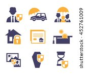 set insurance icons  | Shutterstock . vector #452761009