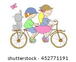 Kids And Cat Travel Riding A...