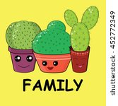 hilarious family of cacti on a... | Shutterstock .eps vector #452772349