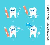 set of cartoon tooth and... | Shutterstock .eps vector #452791351
