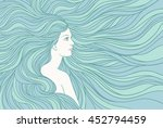 girl with streaming  hair  hand ... | Shutterstock .eps vector #452794459
