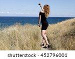 young beautiful stylish girl... | Shutterstock . vector #452796001