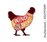 chicken cuts facing right with... | Shutterstock .eps vector #452797099