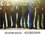 stylish confident men in suit... | Shutterstock . vector #452805409